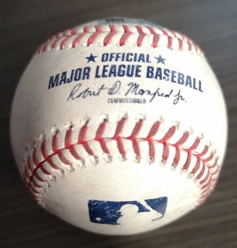 Photo of Authenticated Game Used Baseball: Single by Randal Grichuk against Mike Foltynewicz (Aug 28, 19 vs ATL). Bottom 2.