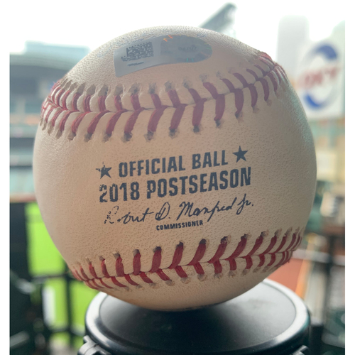 Photo of Houston Astros Game-Used Baseball: Pitcher: Tony Sipp, Batter: Ian Kinsler - Strikeout - Top 6 - 10/16/18 vs. BOS (ALCS Game 3)
