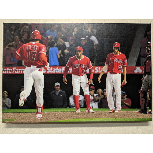 Photo of Shohei Ohtani 1st Homerun Celebration Photo Canvas With Batters Box Dirt
