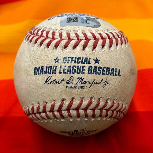 Photo of Opening Day 2020 Game-Used Baseball: Zac Grotz to Alex Bregman (Foul)