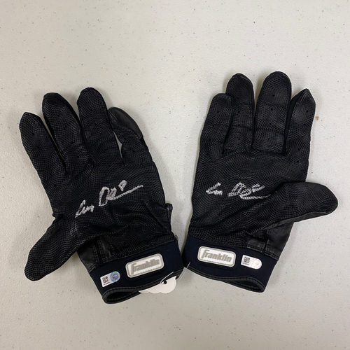 Photo of Autographed Batting Gloves - signed by #8 Alex Dickerson - Black & Silver Franklin Batting Gloves