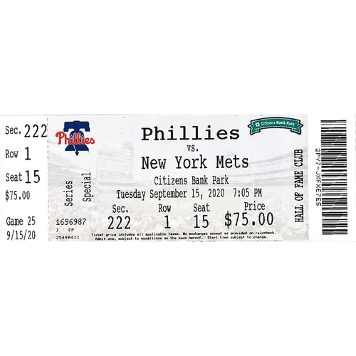 Photo of September 15, 2020 Ticket: Phillies vs. Mets