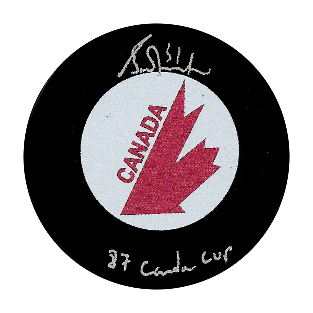 Grant Fuhr Autographed Team Canada Puck w/87 CANADA CUP Inscription