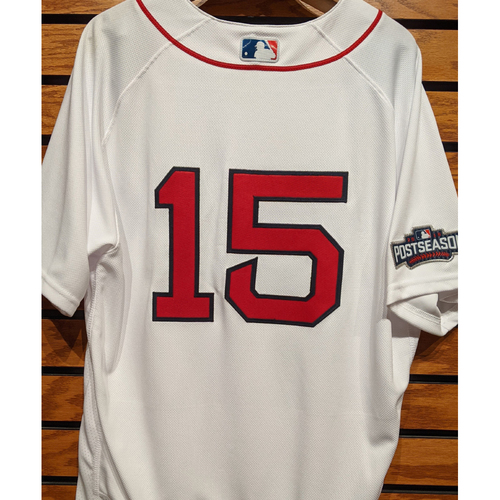 Photo of Dustin Pedroia #15 Team Issued Home White Jersey