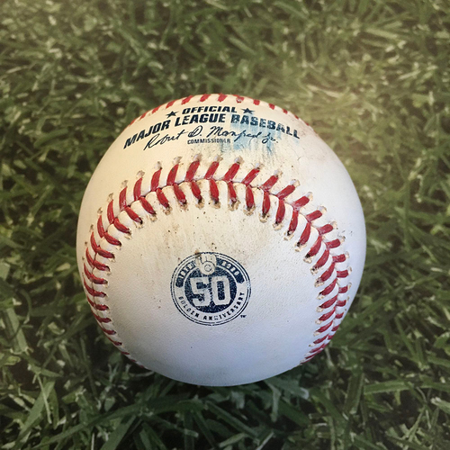 Photo of Game-Used Baseball CIN@MIL 08/27/20 (Game 2 of Doubleheader) - Wade Miley - Keston Hiura: Foul