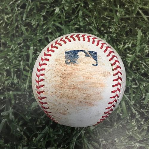 Photo of Game-Used Baseball COL@MIL 06/26/21 - Adrian Houser - Raimel Tapia: Single