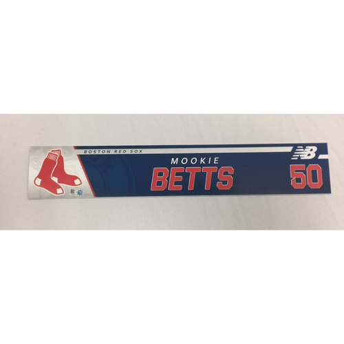 Photo of Mookie Betts Game-Used May 24, 2017 Locker Tag