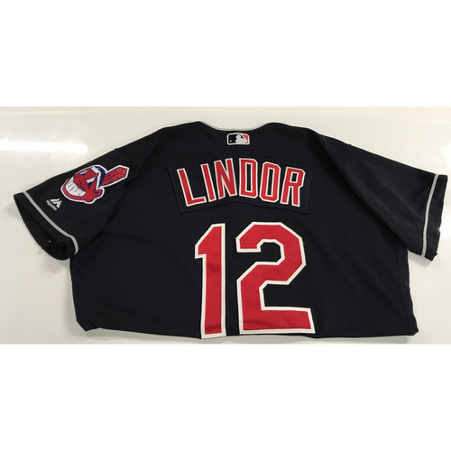 Photo of Fransisco Lindor Game-Used 2018 Opening Day Jersey (Road 3/29 @ SEA & Home 4/6 vs. KC)