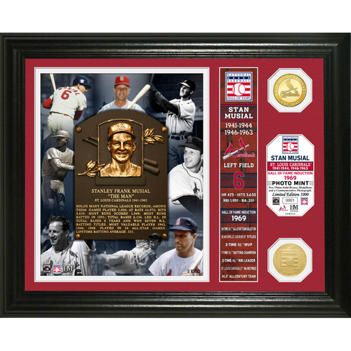 Photo of Stan Musial Class of 1969 Banner Bronze Coin Photo Mint