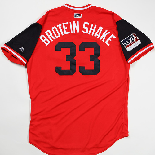 "Photo of Brad ""Brotein Shake"" Hand Cleveland Indians Game-Used Jersey 2018 Players' Weekend Jersey"
