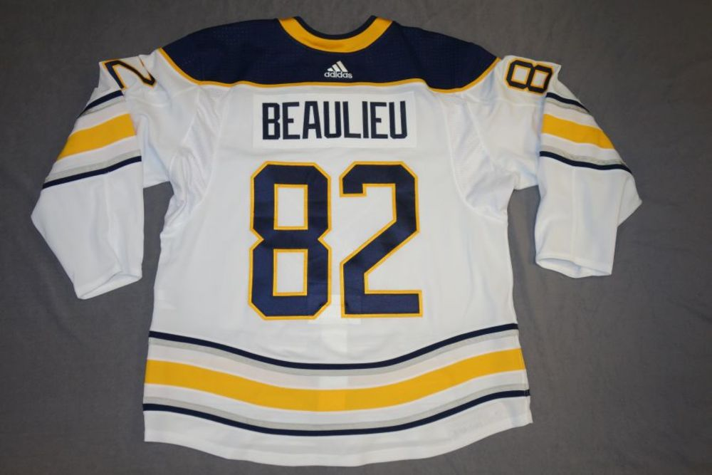 3dc0f8f3eb7 Nathan Beaulieu 2017-18 Buffalo Sabres Game Worn Set 3 Away Jersey ...