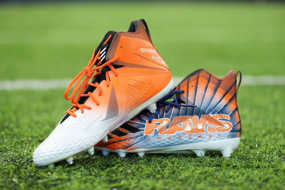 MY CAUSE MY CLEATS - DENVER BRONCOS SHANE RAY GAME WORN CUSTOM CLEATS