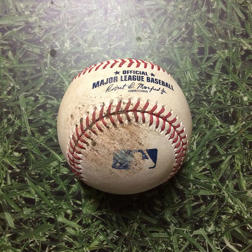 Photo of Game-Used Baseball STL@MIL 03/31/19 - Michael Wacha - Christian Yelich: Foul