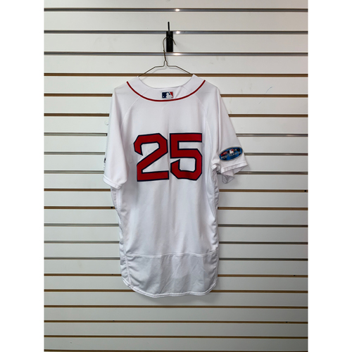 Photo of Steve Pearce Game Used October 14, 2018 Home Jersey - Pearce 1 for 3