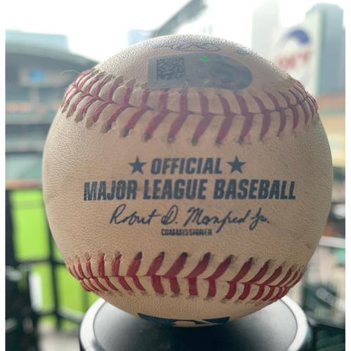 Photo of Houston Astros Game-Used Baseball: Pitcher: Framber Valdez, Batter: Adalberto Mondesi - Single - Top 6 - 5/7/19 vs. KC