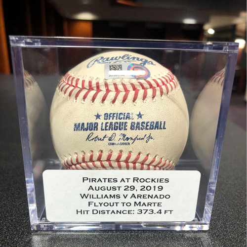 Photo of Colorado Rockies Game-Used Baseball - Pitcher: Trevor Williams, Batter: Nolan Arenado (Flyout to Marte) - August 29, 2019 vs Pittsburgh Pirates