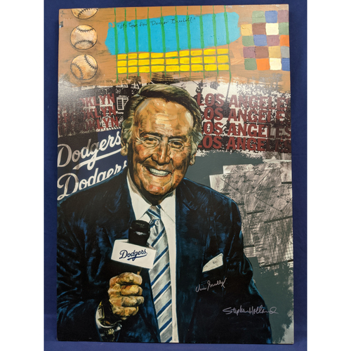Photo of Vin Scully Autographed Giclée Canvas Hand Enhanced by the Artist Stephen Holland