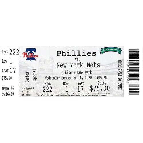 Photo of September 16, 2020 Ticket(Mickey Moniak MLB Debut): Phillies vs. Mets