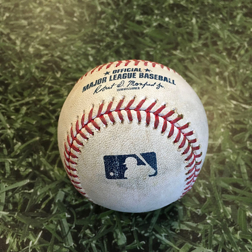 Game-Used Baseball PIT@MIL 08/29/20 - Brett Anderson - Erik Gonzalez: First Pitch of Game & Single