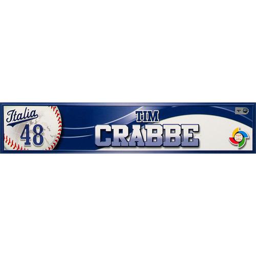 2013 World Baseball Classic: Tim Crabbe (ITA) Game-Used Locker Name Plate