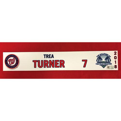 Photo of Game-Used 2018 Spring Training Locker Tag: Trea Turner