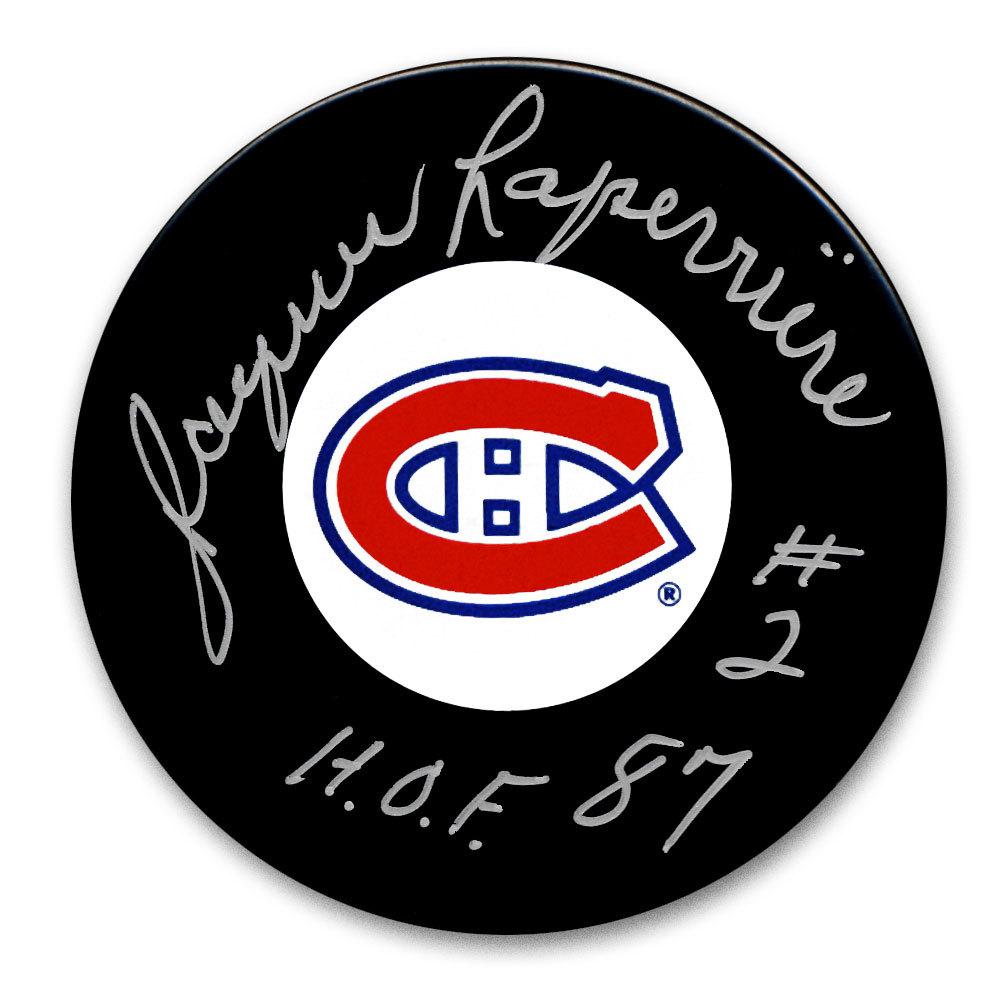 Jacques Laperriere Montreal Canadiens HOF Autographed Puck