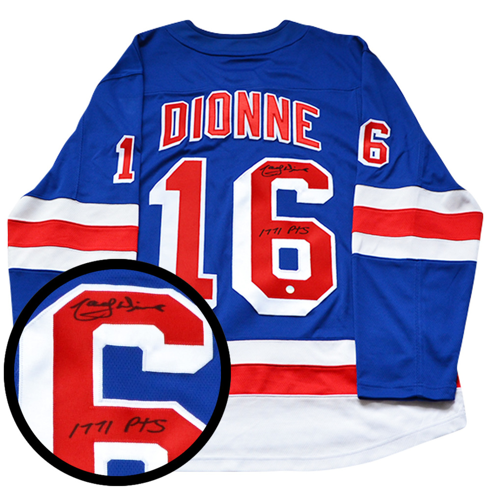Marcel Dionne Signed Jersey Rangers 1771pts Inscr. Replica Blue 2017-2018 Fanatics
