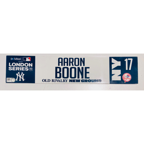 Photo of 2019 London Series - Game Used Locker Tag - Aaron Boone, New York Yankees vs Boston Red Sox - 6/30/2019