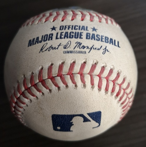 Photo of Authenticated Game Used Baseball: Single by Alex Bregman against Trent Thornton (Aug 30, 19 vs HOU). Top 2.