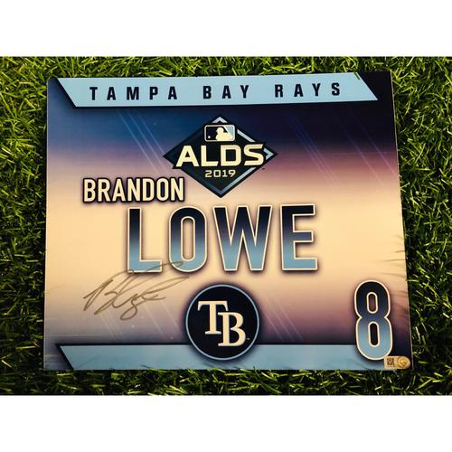 Photo of Game Used ALDS Autographed Locker Tag: Brandon Lowe - October 7, 2019 v HOU