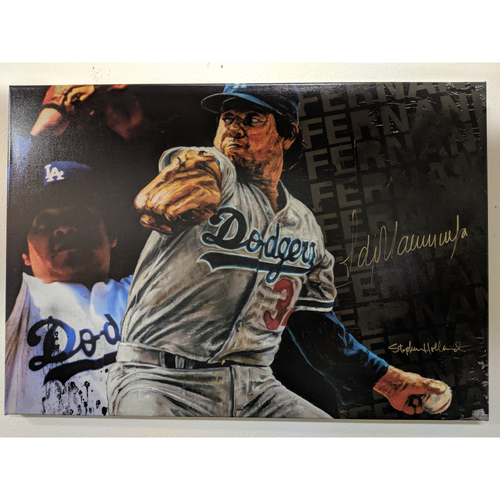Photo of Fernando Valenzuela Autographed Stephen Holland Giclée Canvas
