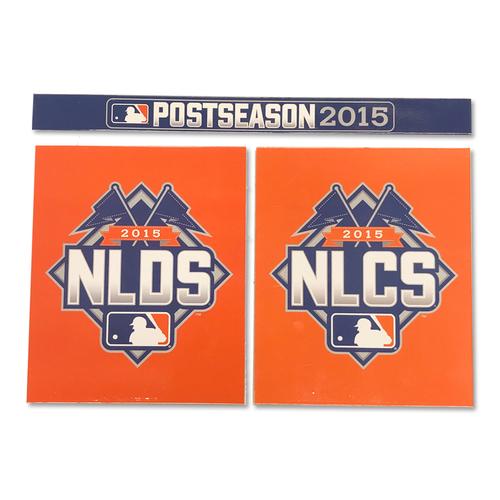 Michael Conforto #30 - Game Used Locker Nameplate Set - NLDS Game 3 - Mets vs. Dodgers - 10/12/15 - NLCS Game 1 - Mets vs. Cubs - 10/17/15