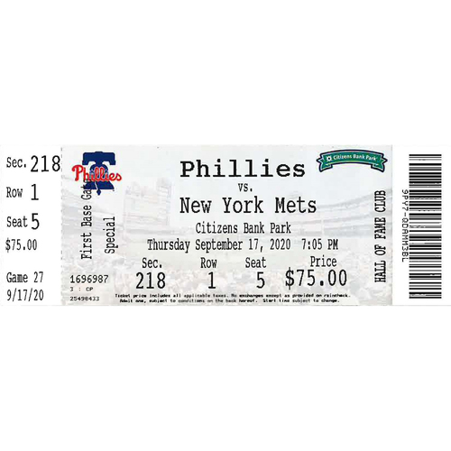 Photo of September 17, 2020 Ticket: Phillies vs. Mets