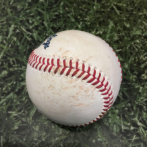 Photo of Game-Used Baseball CHC@MIL 06/29/21 - Zach Davies - Christian Yelich: RBI Double