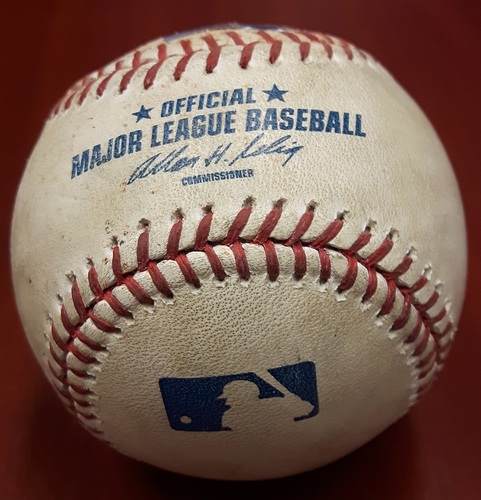 Photo of Authenticated Game Used Baseball (June 13, 2012 vs WAS) - Ball in the dirt from Stephen Strasburg to Jose Bautista (Bottom 3)
