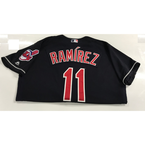 Photo of Jose Ramirez Game-Used 2018 Opening Day Jersey (Road 3/29 @ SEA & Home 4/6 vs. KC)
