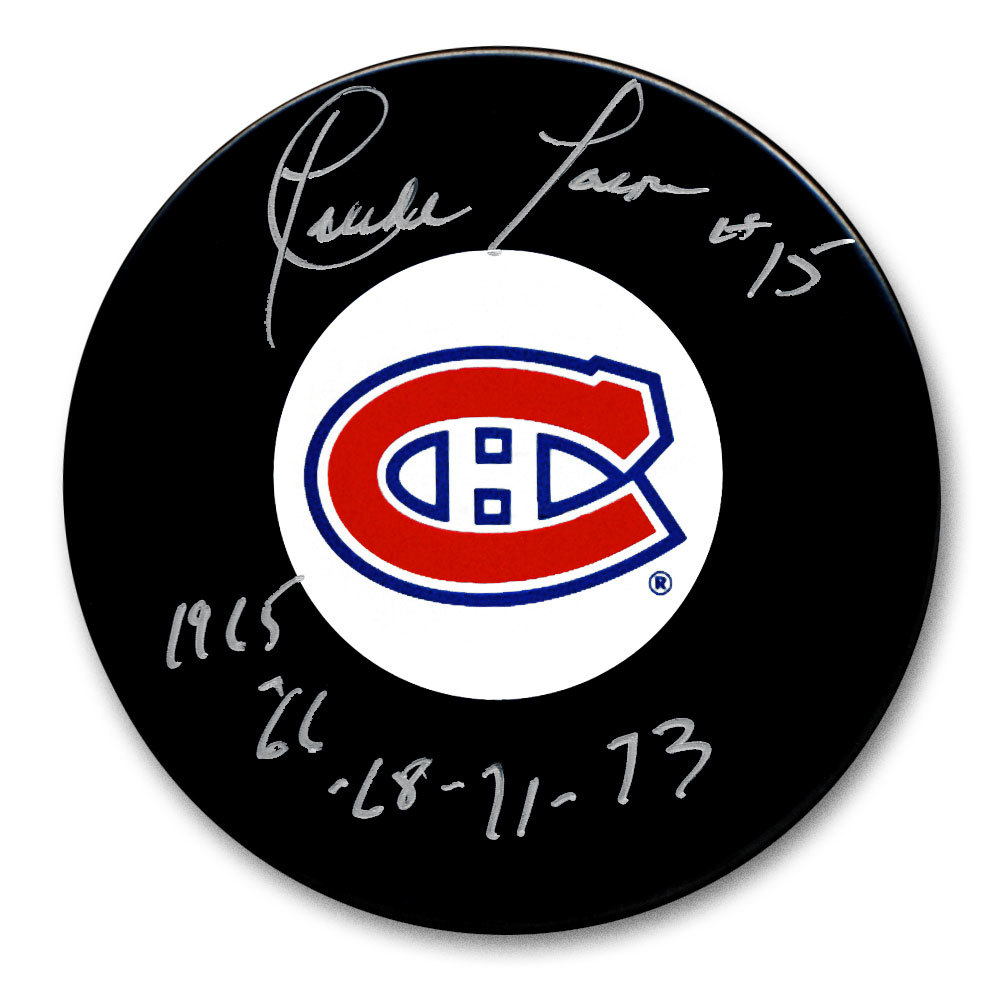 Claude Larose Montreal Canadiens SC Years Autographed Puck