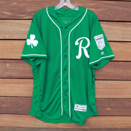 Photo of Game-Used Saint Patrick's Day Jersey: Pedro Grifol (KC @ SF - 3/17/19 - Size 48)