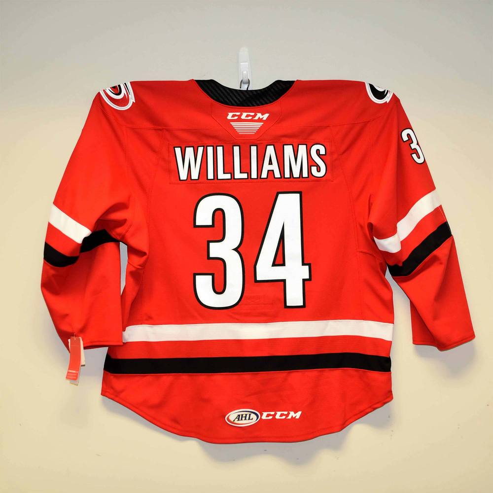 Charlotte Checkers 2019 Calder Cup Finals Game 1 Jersey Issued to #34 Eric Williams