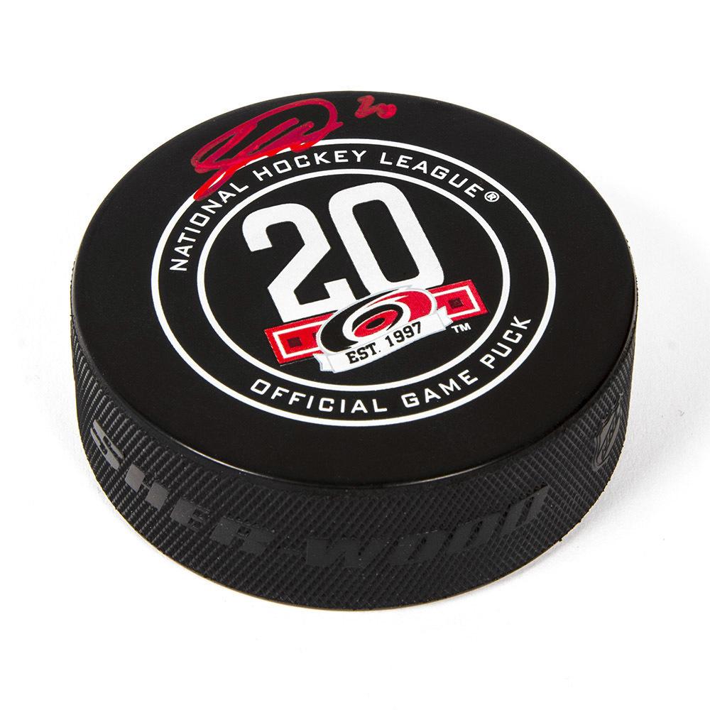 Sebastian Aho Carolina Hurricanes Signed 20th Anniversary Game Model Hockey Puck