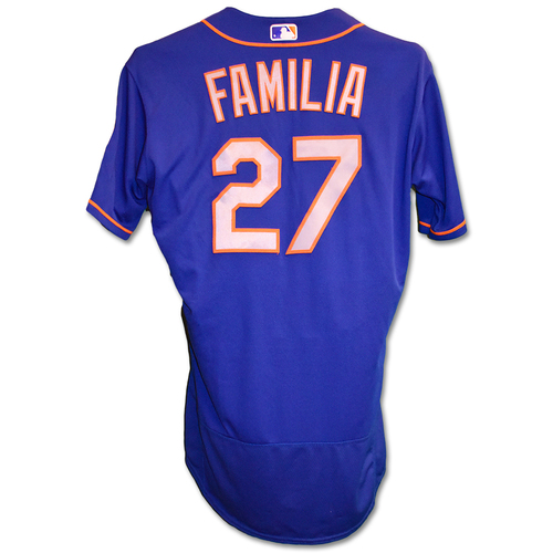 Photo of Jeurys Familia #27 - Team Issued Blue Alt. Road Jersey - 2019 Season
