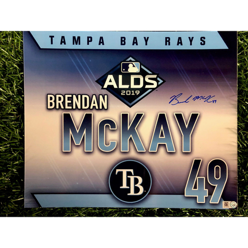 Photo of Game Used ALDS Autographed Locker Tag: Brendan McKay - October 7, 2019 v HOU