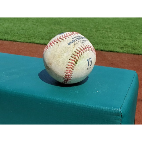 Photo of 2020 Phillies Game-Used Baseball (ALLEN 15 stamp) - JT Realmuto Double