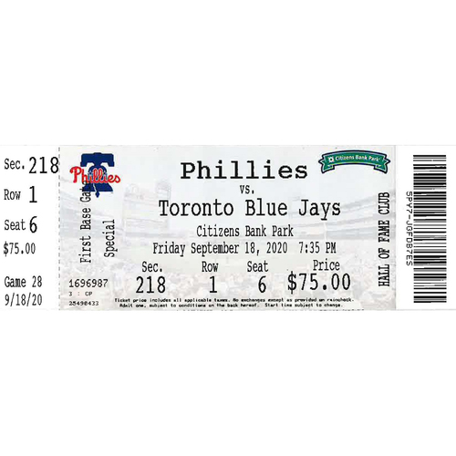 Photo of September 18, 2020 Ticket(Game 2 - Connor Brogdon 1st Career Win): Phillies vs. Blue Jays