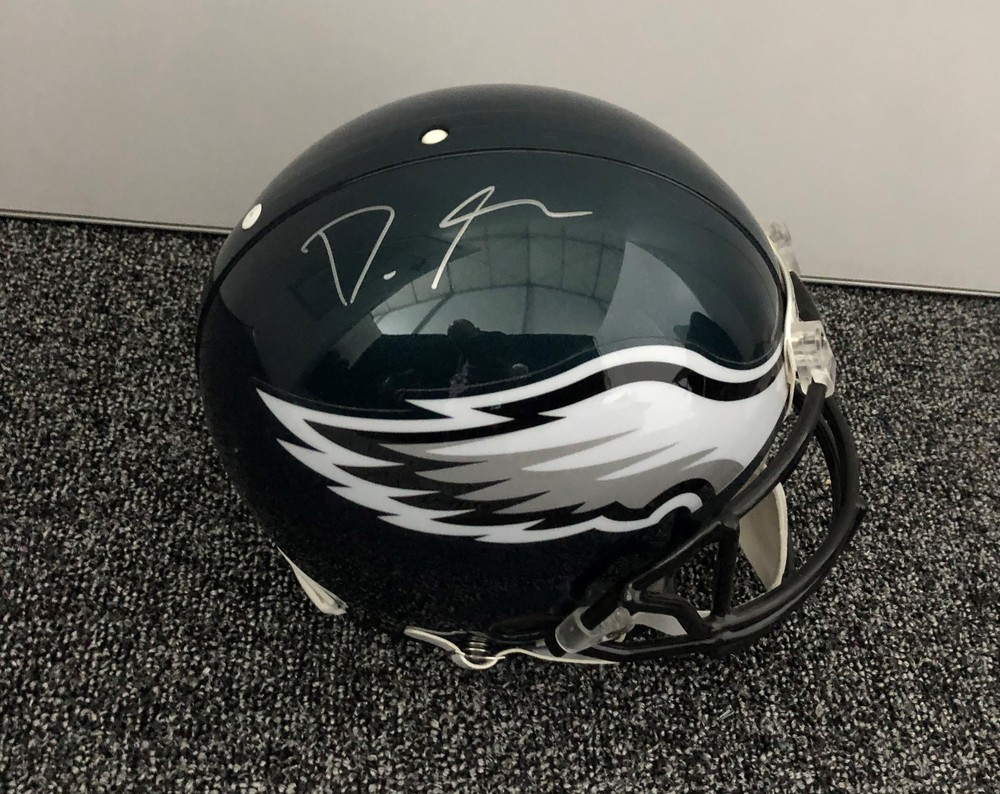 DeVonta Smith Autographed Eagles Helmet - Signed Backstage At Draft - 1st Eagles Item Smith Signed After Being Drafted