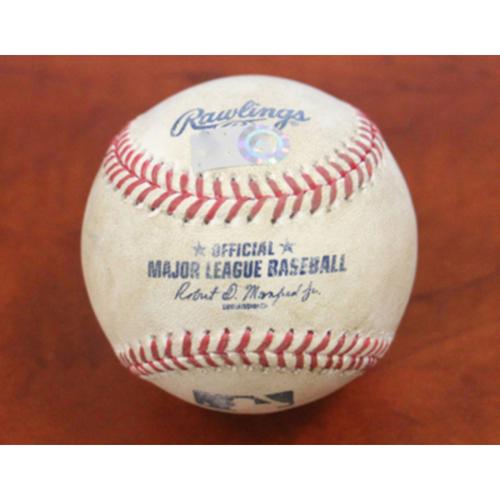 Photo of 2021 Postseason Game-Used Baseball - ALDS Game 4 vs. TB - 10/11/21