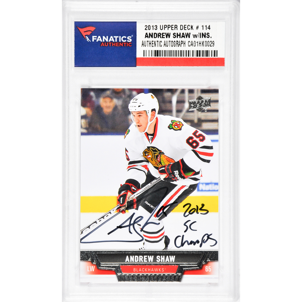 Andrew Shaw Chicago Blackhawks Autographed 2013-14 Upper Deck #114 Card with 2013 SC Champs Inscription