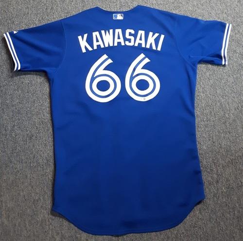 Photo of Authenticated Team Issued Jersey - #66 Munenori Kawasaki (2014 Season). Jersey is Size 46.