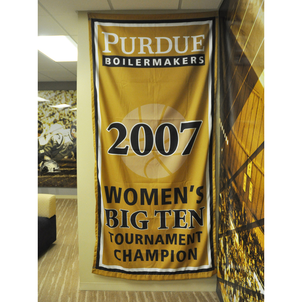 Photo of Mackey Arena Banner: Women's Basketball 2007 B1G Tourney Champs