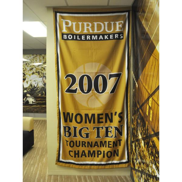Photo of Mackey Arena Banner: Women's Basketball 2007 B1G Tourney Champs